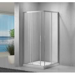 R-1002 Chrome Душ. ограждение 6мм стекло (90*90*190) квадрат, двери раздвижные REDO (10317120/121020