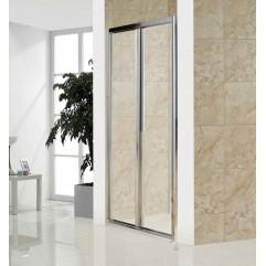 Дверь bifold, стекло прозрачное, профиль хром, 100х185 см