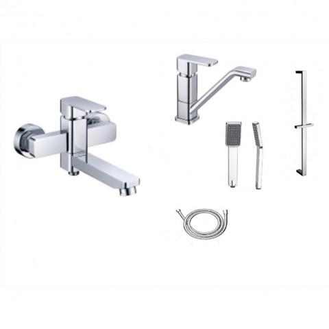 Душевой КОМПЛЕКТ  LANDBERG  LB5204-5201  хром (ванна, раковина, стойка, шланг, лейка)