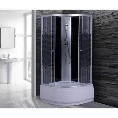 Душ. каб. NG-7508-08 BLACK (900х900х2150) высокий поддон (40 см)  стекло МОЗАИКА купить за 19 828 руб. в Симферополе