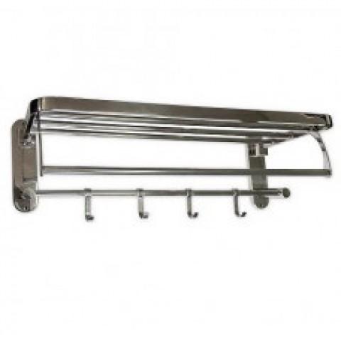 1056 - САНАКС - Полка для полотенец с крючками , складная нержавейка хромированная - ширина 60 см купить за 1 531 руб. в Симферополе