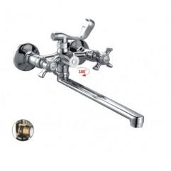 HB2224 Смеситель двуручковый  для ванны длинный излив переключатель в корпусе хром