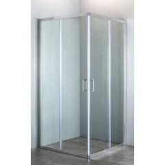Душевая кабина 90*90*190см квадратная, раздвижные двери, без поддона, стекло прозрачное, профиль хро
